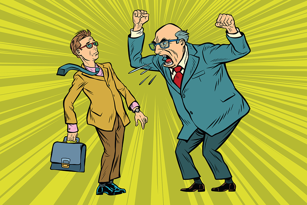 Boss scolds businessman. Conflicts at work. Pop art retro vector illustration